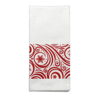 Holiday Napkins Set-Red Snowflakes Swirl