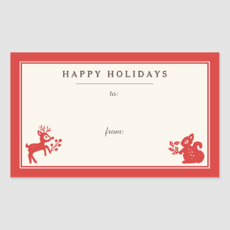 Holiday Nordic Folk Art Gift Tag Stickers