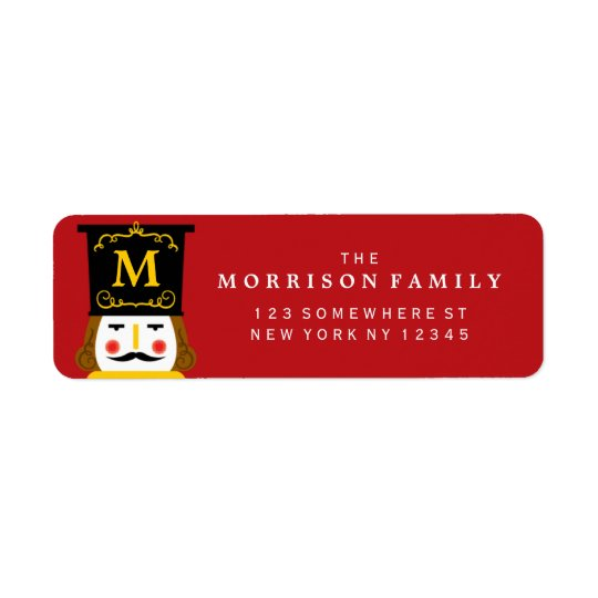 Holiday Nutcracker Monogram Red Return Address Label
