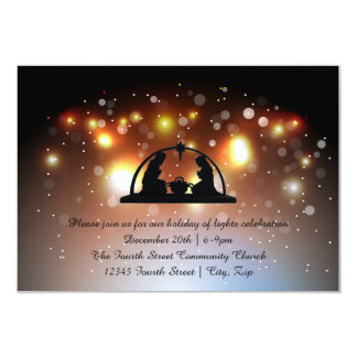 Holiday of LIghts Nativity-3x5Christmas Invitation