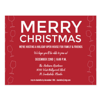 Holiday Open House Christmas Red Wine Party Invite Postcard