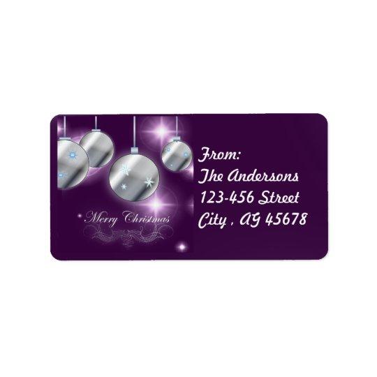 Holiday ornament Purple Christmas Label