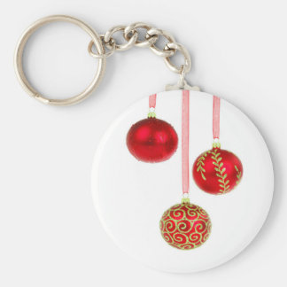 Holiday Ornaments Basic Round Button Key Ring