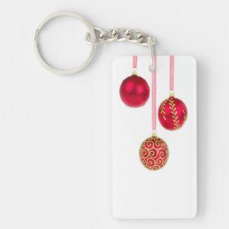 Holiday Ornaments Single-Sided Rectangular Acrylic Key Ring