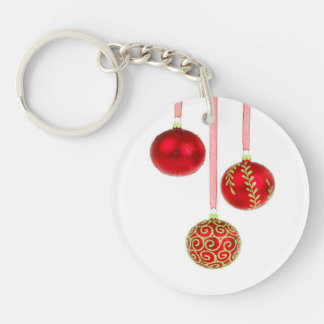Holiday Ornaments Single-Sided Round Acrylic Key Ring