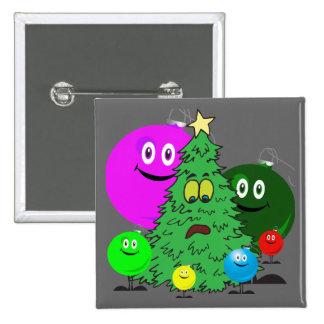 Holiday ornaments surrounding a chirstmas tree pin
