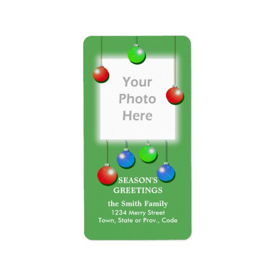 Holiday Ornaments Tall Photo Frame Address Label