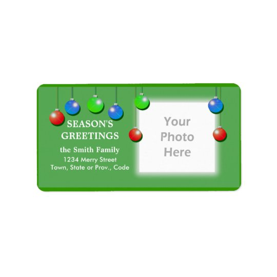 Holiday Ornaments Wide Photo Frame Label