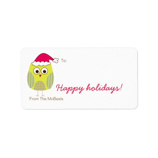 Holiday Owl Gift Tags Address Label