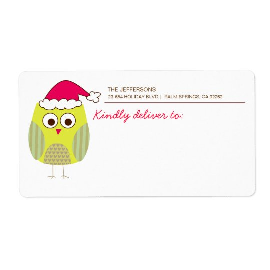 Holiday Owl Shipping Labels
