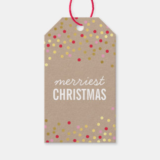 HOLIDAY PACKAGING gold confetti spots red kraft