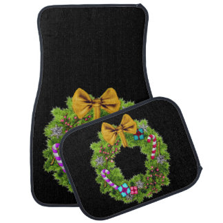 Holiday Painted Christmas Wreath Car Mat