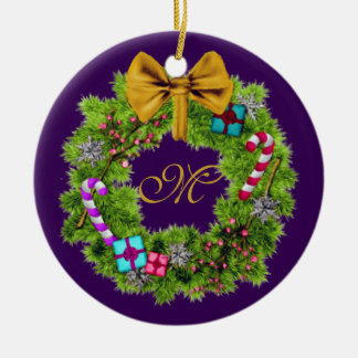 Holiday Painted Christmas Wreath Round Ceramic Decoration