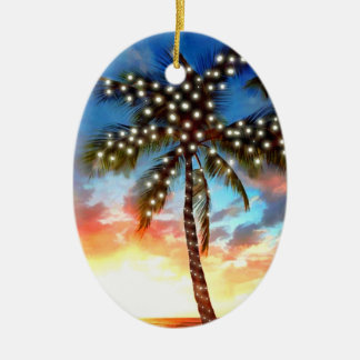 Holiday Palm Tree Lights at Sunset Ceramic Oval Decoration