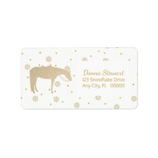 Holiday Parchment Gold White Western Horse Address Label