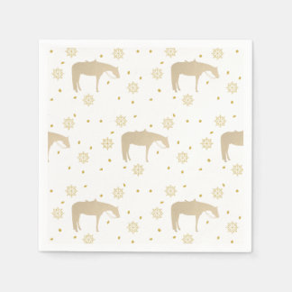 Holiday Parchment Gold White Western Horse Disposable Napkins