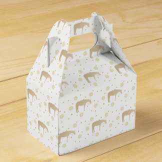 Holiday Parchment Gold White Western Horse Favour Box