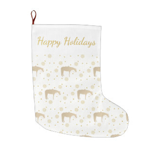 Holiday Parchment Gold White Western Horse Large Christmas Stocking