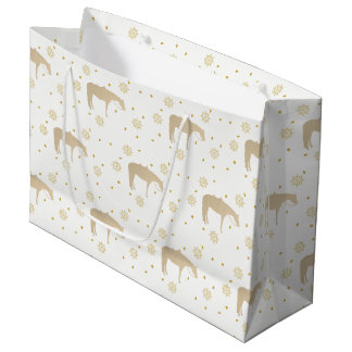 Holiday Parchment Gold White Western Horse Large Gift Bag