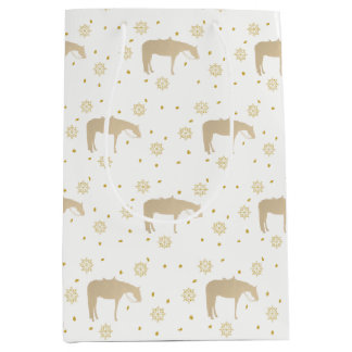 Holiday Parchment Gold White Western Horse Medium Gift Bag
