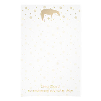 Holiday Parchment Gold White Western Horse Stationery