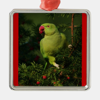 Holiday Parrot Metal Ornament