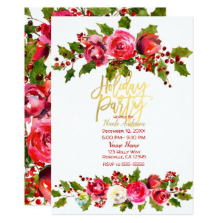 HOLIDAY PARTY Christmas Festive Holly Berry Floral Card