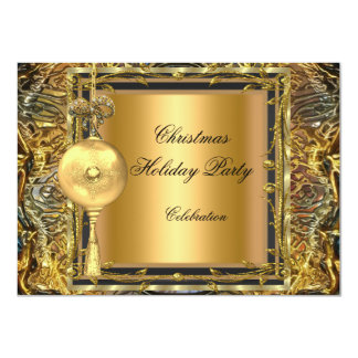 Holiday Party Christmas Gold Ball Decoration 2 4.5x6.25 Paper Invitation Card
