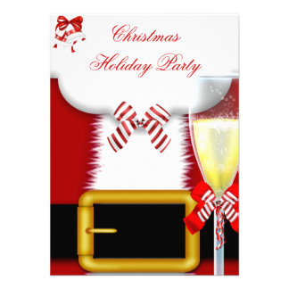 Holiday Party Christmas Santa Suit Champagne Invitation