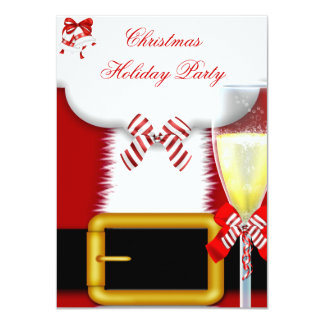 Holiday Party Christmas Santa Suit Champagne 4.5x6.25 Paper Invitation Card