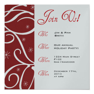 Holiday Party Company Event 13 Cm X 13 Cm Square Invitation Card