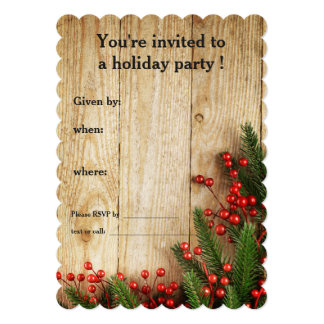 Holiday Party Holly Berries on Rustic Wood Card