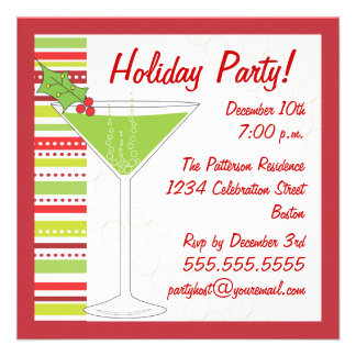 Holiday Party Holly Cocktail Invitation
