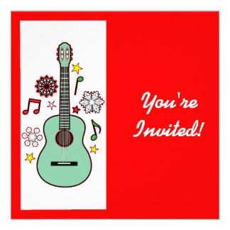 Holiday Party Invitation Christmas Guitar