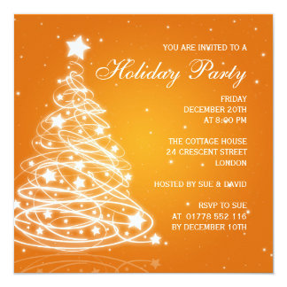 Holiday Party Invitation Christmas Tree Orange