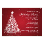 Holiday Party Invitation Christmas Tree Red