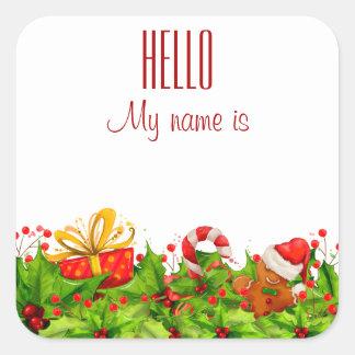 Holiday Party Invitation HELLO name tags