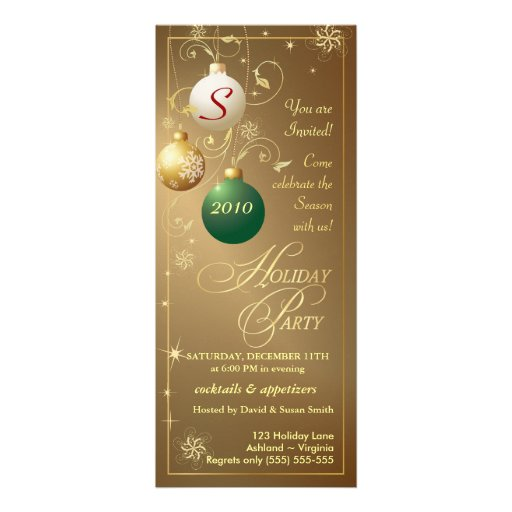 Holiday Party Invitations - Elegant Antique Gold