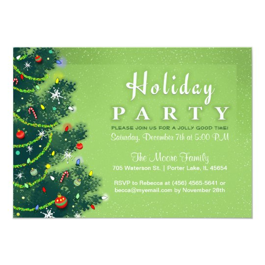 Holiday Party Invite - Green Christmas Tree
