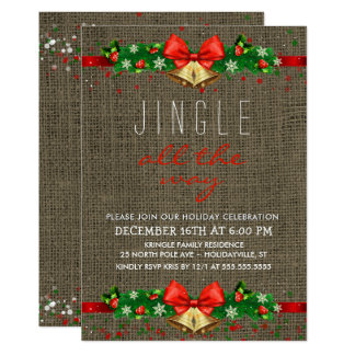 Holiday Party Jingle All the Way Rustic Burlap Card