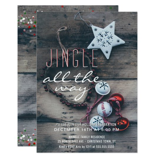 Holiday Party Jingle All the Way Rustic Wood Card
