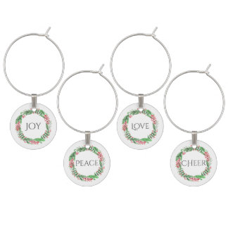 Holiday Party Joy Peace Love Cheer Wine Glass Charm