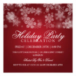 Holiday Party Snowflakes Red Invitation