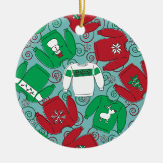 Holiday Party Sweaters Ceramic Ornament