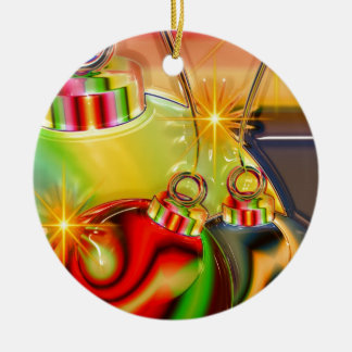Holiday Party Winter Stocking Destiny Gifts Double-Sided Ceramic Round Christmas Ornament