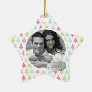 Holiday Pattern and Dog Tags Photo Ceramic Star Decoration