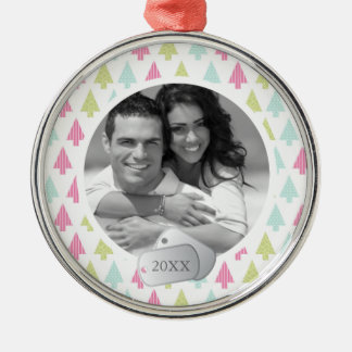 Holiday Pattern and Dog Tags Photo Silver-Colored Round Decoration