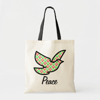 Holiday Peace Signs Dove w/Text Budget Tote Bag