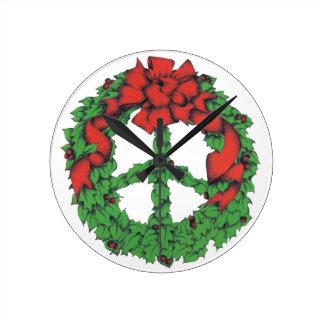 Holiday Peace Wreath Wall Clock