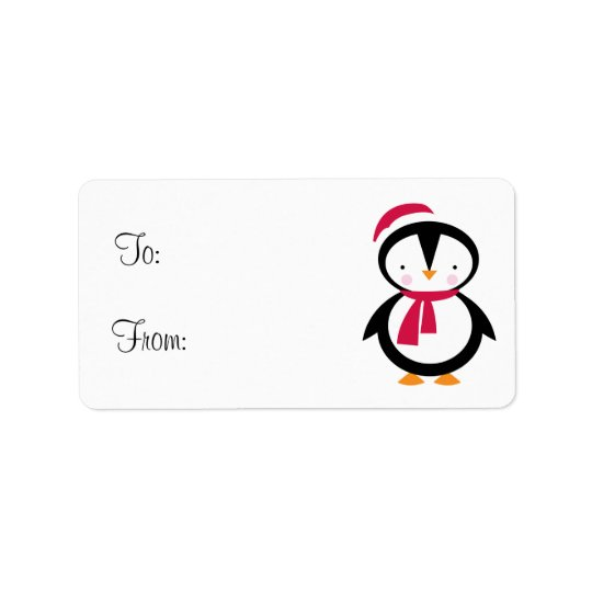 Holiday Penguin Gift Tag Address Label